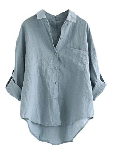 961b1c13b357 Clearance Sale Women Button Down Shirt – vermers Women Cotton linen ...